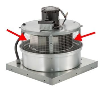 Upblast exhaust fan wheel assembly 18 3 4 top diam x 12 for Restaurant exhaust fan motor