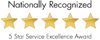 Nationally Recognized 5 Star Service Excellence Award